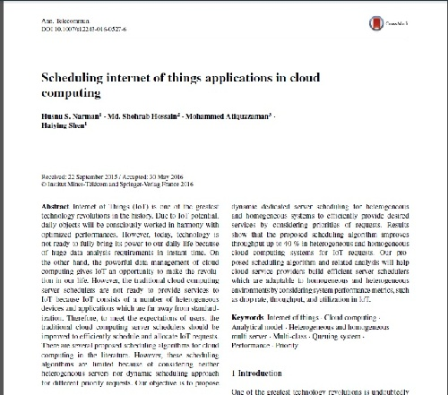 ژورنال Scheduling internet of things applications in cloud computing