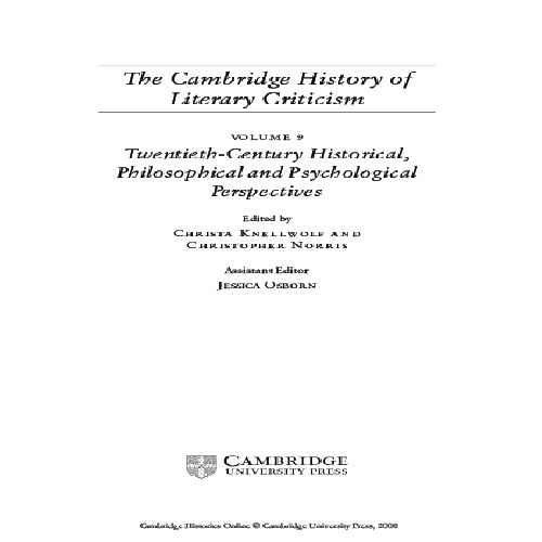 The Cambridge History of Literary Criticism by Christa Knellwolf and Christopher Norris