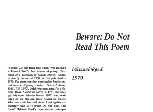 نقد  شعر    Beware Do Not Read This Poem  by Ishmael Reed