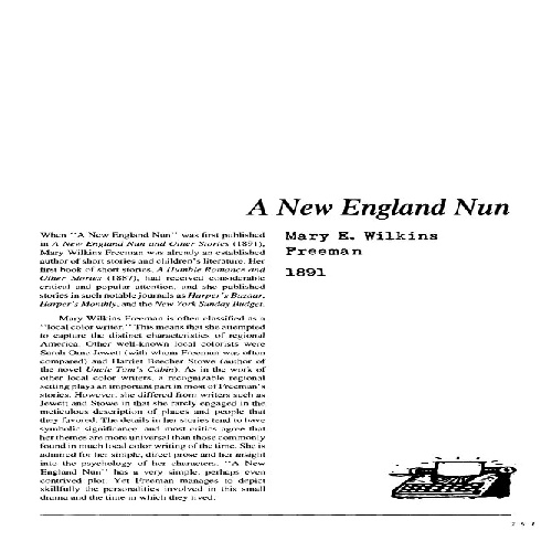 نقد  داستان  کوتاه    A New England Nun by Mary E Wilkins Freeman