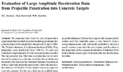 ترجمه مقاله Evaluation of Large Amplitude Deceleration Data from Projectile Penetration into Concrete Targets (مهندسی مکانیک و عمران)