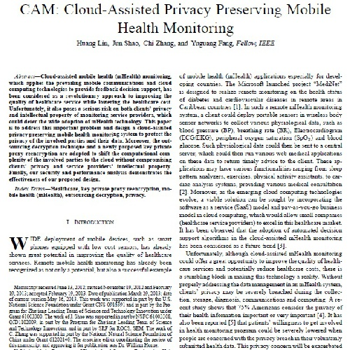 مقاله CAM: Cloud-Assisted Privacy Preserving Mobile Health Monitoring به همراه ترجمه