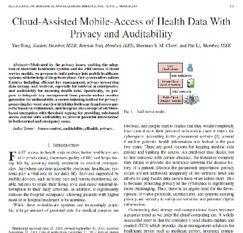 مقاله Cloud-Assisted Mobile-Access of Health Data With Privacy and Auditability به همراه ترجمه