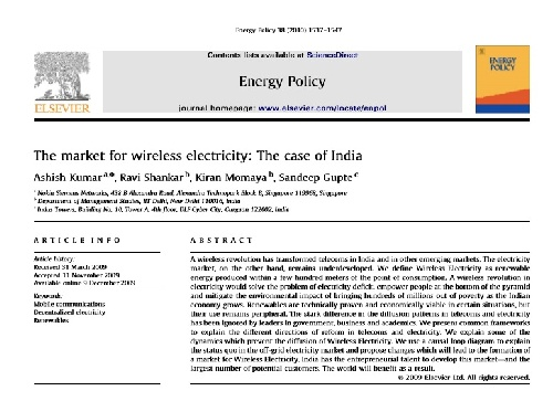 The market for wireless electricity : the case of india