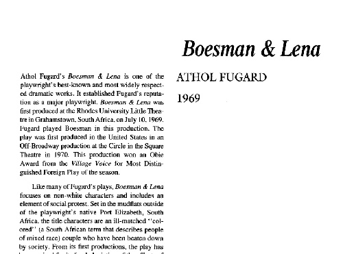 نقد نمایشنامه    Boesman and Lena by Athol Fugard